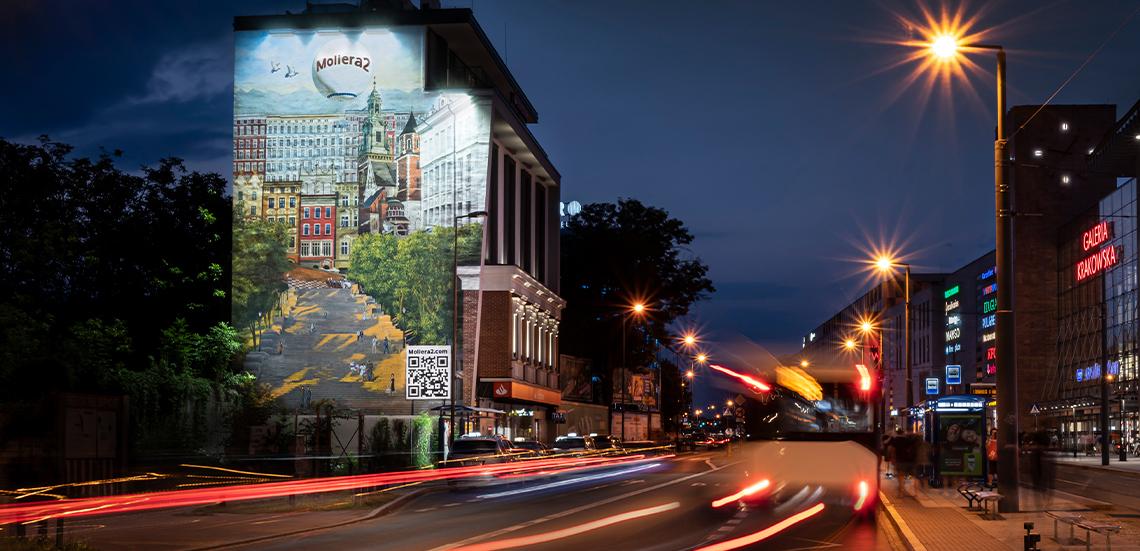 Artystyczny mural Moliera 2 w centrum Krakowa