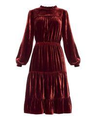Welurowa Sukienka Beatrice - bordowa