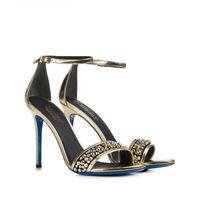 Złote sandały z kryształami Swarovskiego