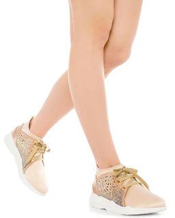Satynowe sneakersy z kryształkami  Swarovskiego