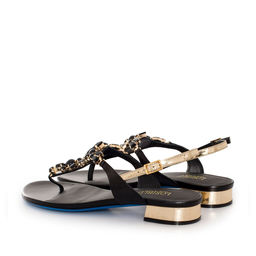 Skórzane sandały z  aplikacją