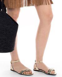 Skórzane sandały z kryształkami Swarovskiego