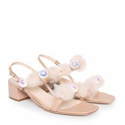 Sandały z futrem i perłami