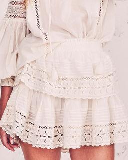 Biała spódnica Ruffle
