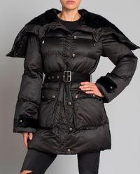 Pikowany płaszcz z futrzanym kapturem Boccalle Imbottitto