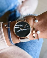 Zegarek La Roche Rose Gold Black Marble Grey