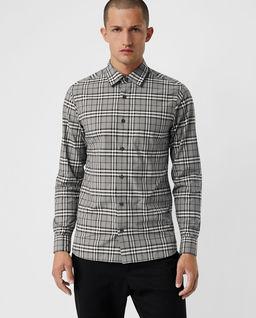Szara koszula w kratę