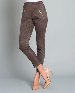 Brązowe spodnie z zamszu