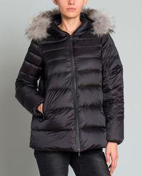 Pikowana kurtka z futrem naturalnym