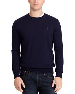 Granatowy sweter z wełny merino