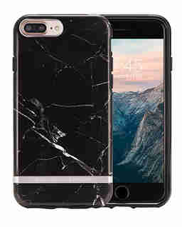 iPhone 6+, 6s+, 7+, 8+ Case Black Marble-Silver