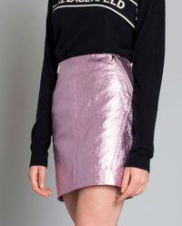 Różowa spódnica z naturalnej skóry