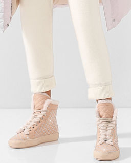 Pikowane sneakersy ze skóry z kryształami