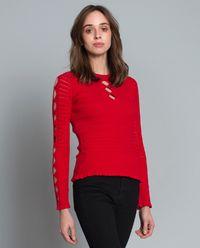 Sweter z geometrycznymi wycięciami