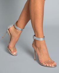 Sandały na szpilce Stella srebrne