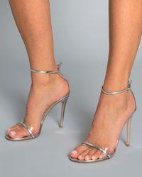 Sandały na szpilce G String srebrne