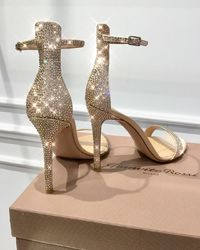 Sandały na szpilce z kryształami Glam