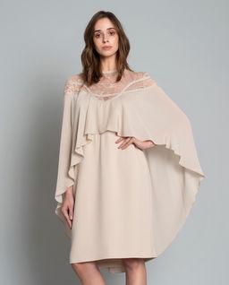 Beżowa sukienka z jedwabiu
