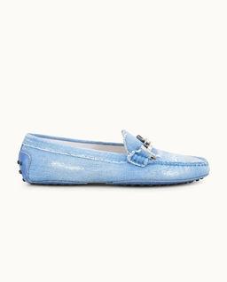 Niebieskie Loafery Gommino z kryształami