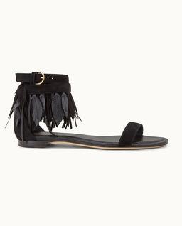 Czarne sandały zamszowe z piórami