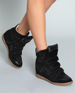 Sneakersy Bekett Black na koturnie 8 cm