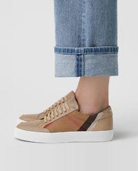 Sneakersy ze skóry nude w kratę