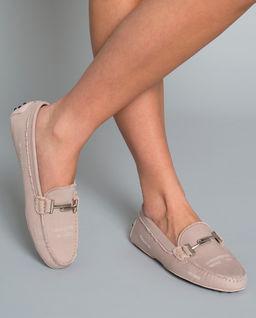 Różowe loafery Gommino z dżinsu