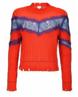 Sweter Prosseco  ze strzępieniem i koronkową aplikacją