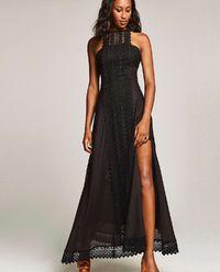 Sukienka  ażurową aplikacją i rozcięciem Elba