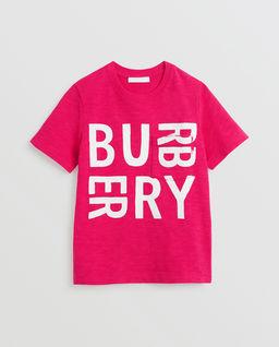Różowy t-shirt z logo 3-14 lat
