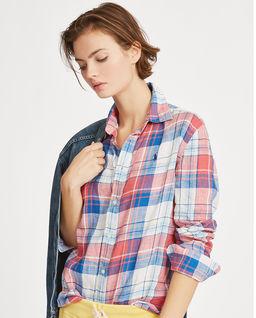 Koszula lniana w kratę