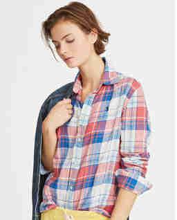 Lněná kostkovaná košile