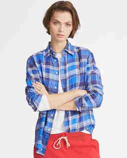 Lněná, kostkovaná košile
