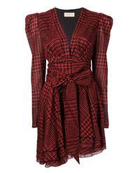 Sukienka w pepitkę z kokardą