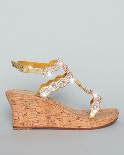 Sandały na koturnie z kryształami