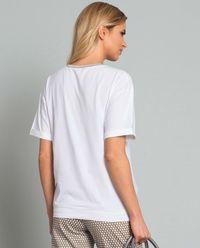 T-shirt z brązową lamówką