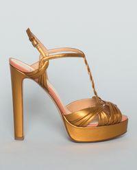 Sandały na platformie złote