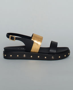 Skórzane sandały z dżetami