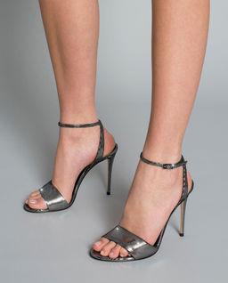 Srebrne sandały na szpilce Julia