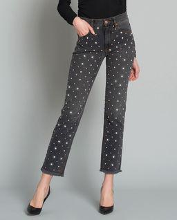 Jeansy z kryształami Swarovskiego