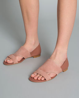 Różowe sandały z łączonej skóry