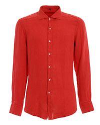 Koszula lniana czerwona