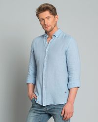Koszula lniana błękitna