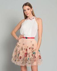 Sukienka z tiulem w kwiaty