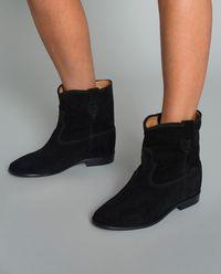 Semišové botky Crisi  na skrytém klínu 6 cm