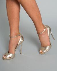 Złote sandały na szpilce Techno Blade