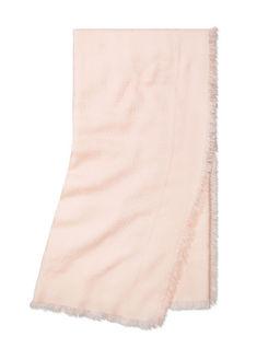 Vlněný růžový šatek s hedvábím