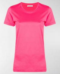 T-shirt z logo marki różowy