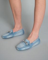Loafery Gommino dżinsowe z kryształami