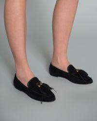Loafery zamszowe z piórkiem